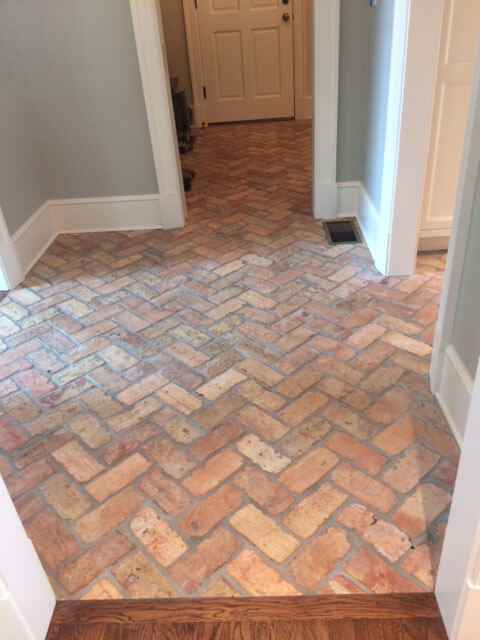 Reclaimed outside cut thin brick floor