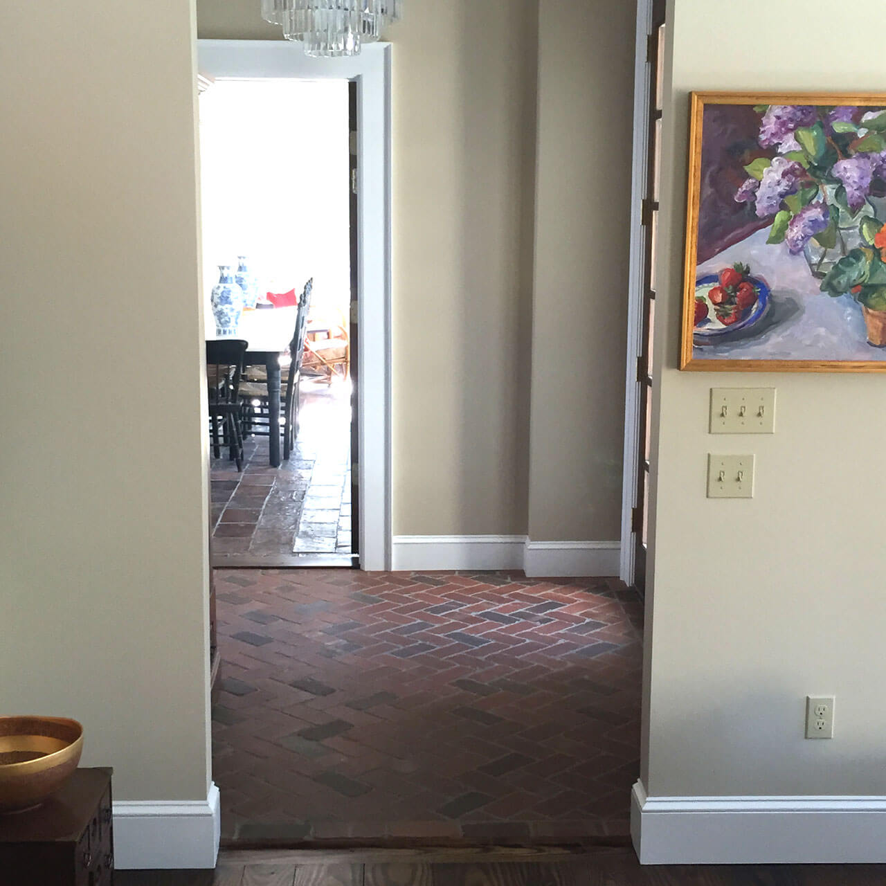 Tumbled thin brick floor