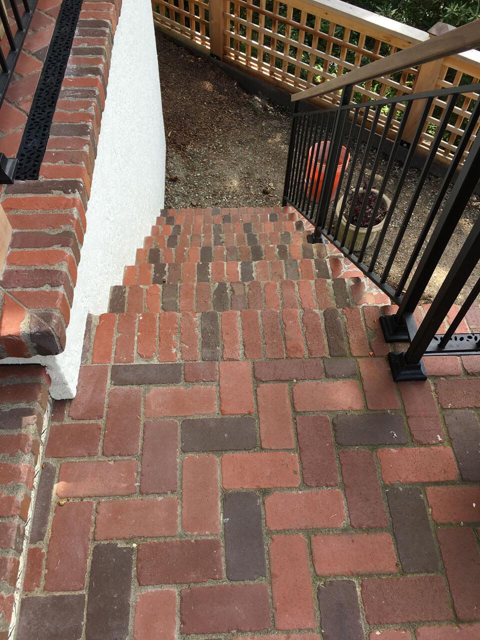 Tumbled thin brick stairs